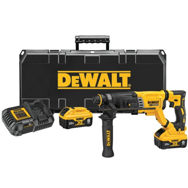 DEWALT 20-Volt MAX Cordless Brushless 1-1/8 in. SDS Plus D-Handle Rotary Hammer with (2) 20-Volt XR 6.0Ah Batteries & Charger