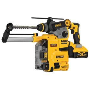 DEWALT 20-Volt MAX XR Brushless 1-1/8 in. SDS Plus L-Shape Rotary Hammer w/ Dust Extractor & (2) 20-Volt 6.0Ah Batteries
