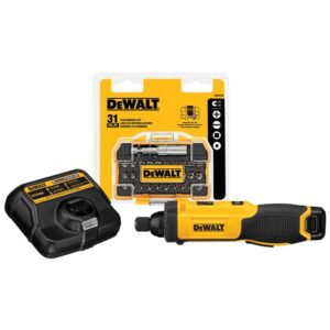 DEWALT 8-Volt MAX Cordless 1/4 in. Hex Gyroscopic Screwdriver with Accessory Kit, (1) 1.0Ah Battery, Charger & Bag