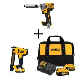 DEWALT 20-Volt MAX XR Cordless Brushless Cable Stripper with Stapler, (2) 20-Volt 5.0Ah Batteries & (1) 20-Volt 2.0Ah Battery