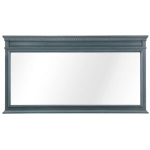 Home Decorators Collection 60 in. W x 32 in. H Framed Rectangular  Bathroom Vanity Mirror in Distressed Blue Fog