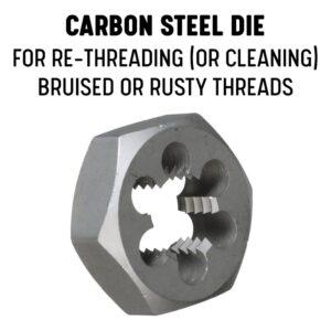 Drill America 1-1/16 in. - 18 in. Carbon Steel Hex Rethreading Die