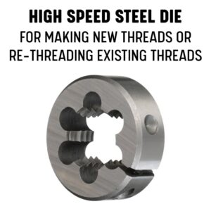 Drill America #12-32 x 13/16 in. Outside Diameter High Speed Steel Round Threading Die, Adjustable