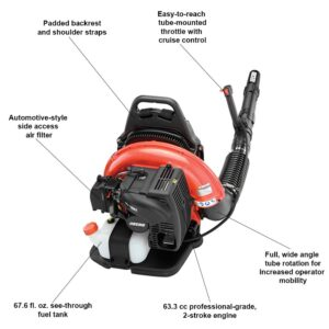 ECHO 233 MPH 651 CFM 63.3cc Gas 2-Stroke Cycle Backpack Leaf Blower with Tube Throttle
