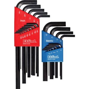 Eklind Combination Hex-L Key Set Sizes 0.050 in. to 3/8 in. and 1.5 mm to 10 mm (22-Piece)