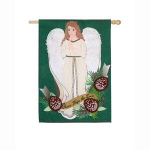 Evergreen 28 in. x 44 in. Peace Love Hope Angel House Linen Flag