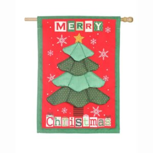 Evergreen 28 in. x 44 in. Christmas Tree Quilt House Linen Flag