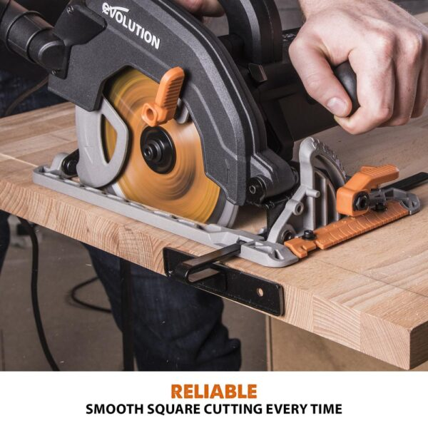 Evolution Power Tools 15 Amp 7-1/4 in. Circular Saw with LED Light, Electric Brake, 13 ft. Rubber Power Cord and Multi-Material Blade