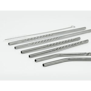 ExcelSteel 14 Pc Reusable Swirl Straw Set W/ 8 Long, 4 Short Straws W/ Cleaning Brushes