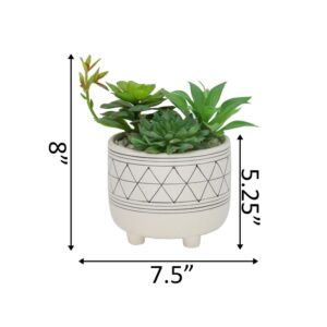 Flora Bunda 6 in. White Footed Black GEO Ceramic with Faux Succulents Mix