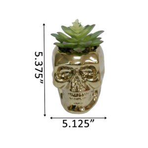 Flora Bunda 5.1 in. x 4 in. Artificial Succulent in Metallic Gold Ceramic Sugar Skull