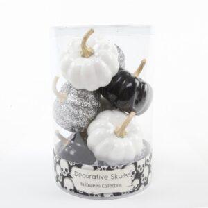 Flora Bunda 3 in. Halloween Black/Silver/White Plastic Pumpkins Fillers in PVC Gift Box (8-Pieces Per Box)