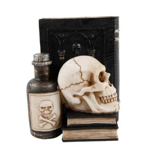 Flora Bunda 7 in. x 8 in. Halloween Decor Resin Book, Poison with Skull Bookend