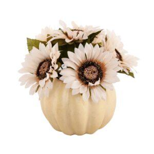 Flora Bunda 10 in. Fall Harvest Artificial Cream White Sunflowers in 7 in. Plastic Foam Pumpkin