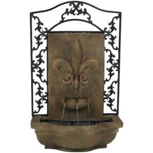 Sunnydaze Decor French Lily Resin Florentine Stone Solar Outdoor Wall Fountain