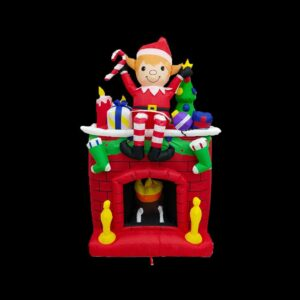 Fraser Hill Farm 6.5 ft. Pre-Lit Elf Sitting on a Fireplace Christmas Inflatable