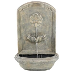 Sunnydaze Decor Seaside Resin French Limestone Solar Outdoor Wall Fountain with Battery Backup