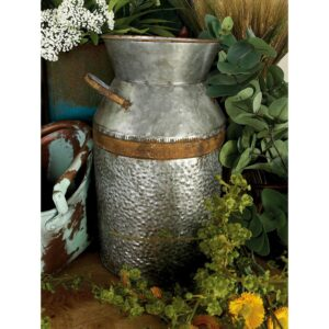 LITTON LANE 14 in. H Gray Galvanized Tin Decorative Milk Can with Rust Band Handles