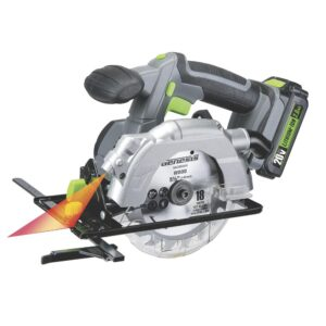 Genesis 20-Volt Lithium-Ion Cordless 5-1/2 in. Circular Saw with Laser Guide, 18T Blade, Battery and Charger