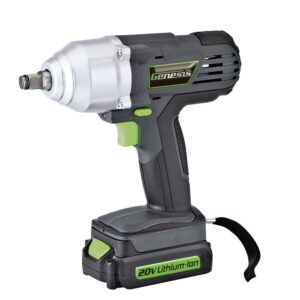 Genesis 20-Volt Lithium-Ion Impact Wrench Kit with LED Work Light and Removable Battery, Charger, 4-Piece Socket Set and Case