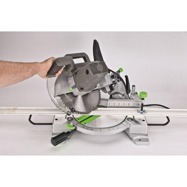 Genesis 15 Amp 10 in. Compound Miter Saw with Laser Guide, 9 Positive Stops, Clamp, Dust Bag, 2 Wings and Blade