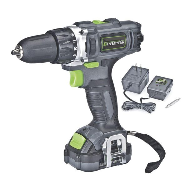Genesis 12-Volt Lithium-ion Cordless Variable Speed Drill/Driver with 3/8 in. Chuck, LED Light, Charger and Bit