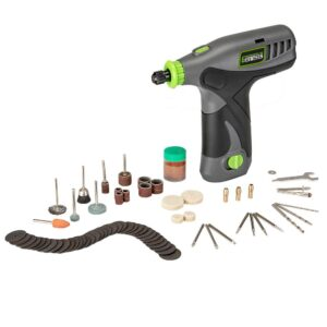 Genesis 8-Volt Variable Speed Rotary Tool with Lithium-Ion Battery Pack, Charging Stand, Wall Adapter and 65-Piece Accessory Set
