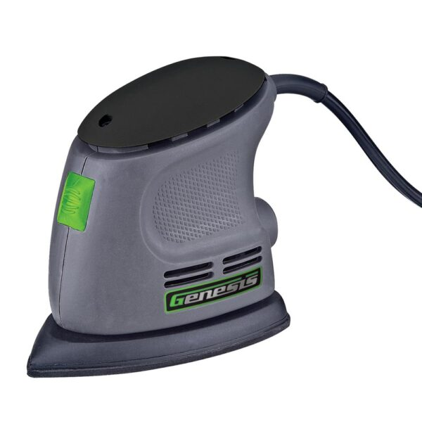 Genesis Corner Palm Sander with Palm Grip, Vacuum Port, Hook-and-Loop System, Dust-Protected Power Switch and Sandpaper