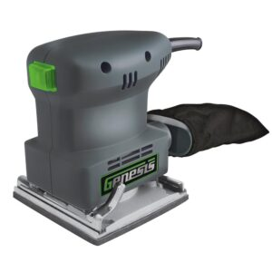 Genesis 1.3 Amp 1/4 Sheet Palm Sander with Palm Grip, Dust-Protected Power Switch, Dust Bag and Sandpaper Assortment