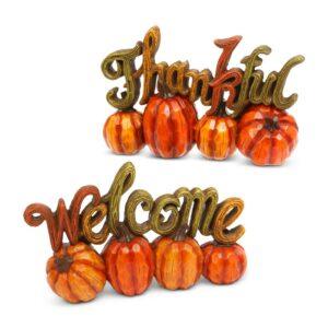 Gerson 6.89 in. H Resin Harvest Thanksgiving Pumpkin Tabletop Decor (Set of 2)