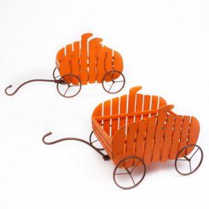 Gerson 17 in. H Assorted Fir Nesting Pumpkin Wagons (Set of 2)