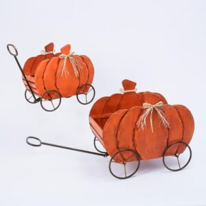 Gerson Assorted 21.85 in. Nesting Wood Pumpkin Wagons (Set of 2)