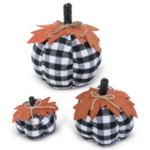 Gerson Assorted Sized 10 in. H Black and White Plaid Pumpkins Harvest Decor (Set of 3)