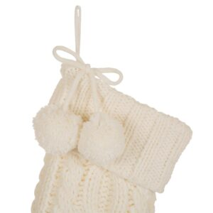Glitzhome 24 in.H Knitted Polyester Christmas Stocking with Pom Ball-White