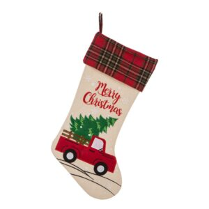 Glitzhome 21 in. L Embroidered Linen Christmas Stocking - Red Truck