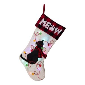 Glitzhome 21 in. Polyester LED Embroidered Linen Cat Christmas Stocking (2-Pack)