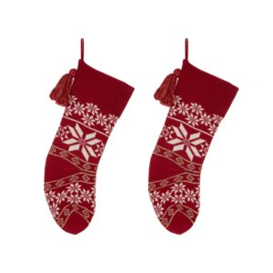 Glitzhome 24 in. Knitted Acrylic Christmas Decoration Snowflake Stocking (2-Pack)