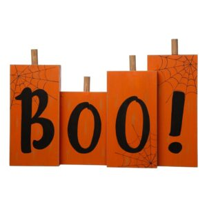 Glitzhome 20 in. L Halloween Wooden Boo Standing Decor