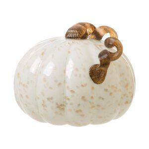 Glitzhome 7.09 in. H Golden/White Glass Pumpkin