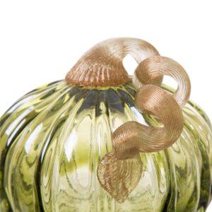 Glitzhome 5.91 in. D x 4.72 in. H Green Crackle Glass Short Pumpkin