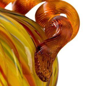 Glitzhome 5 in. D x 4.25 in. H Multi-Striped Glass Short Pumpkin