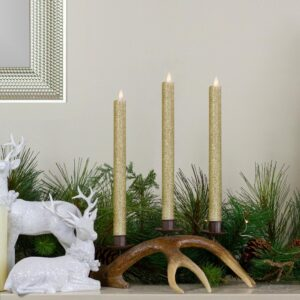 Northlight Set 2-Gold Glittered Flameless Taper Christmas Candles 12 in.