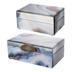 A & B Home Lone Modern Chic Gray, Blue Jewelry Box (Set of 2 )