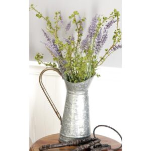 LITTON LANE 10 in. x 12 in. Gray and Rust Brown Hammered Tin Watering Jug