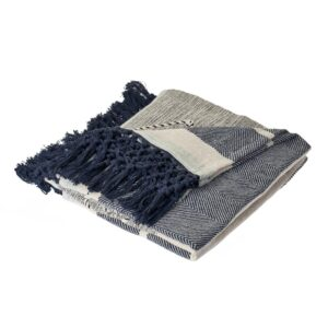 LR Home Symmetry Gray Geometric Cotton Throw Blanket