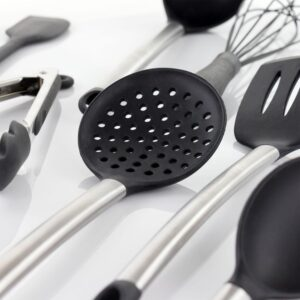 MegaChef Gray Silicone and Stainless Steel Cooking Utensils (Set of 14)