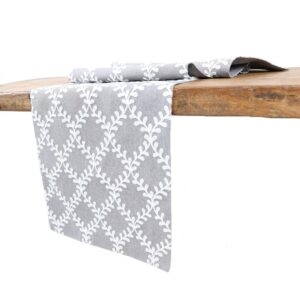 Manor Luxe 15 in. x 108 in. Piluki Leaf Crewel Embroidered Table Runner, Gray