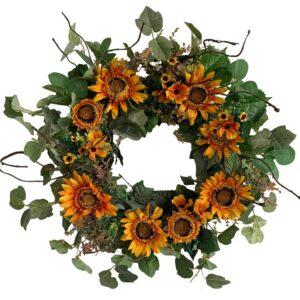 Glitzhome 24 in. Unlit Green Artificial Wreath with Golden Orange Sunflowers