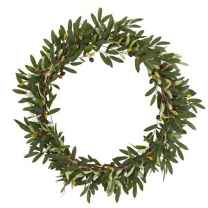 Nearly Natural 23 in. Olive Artificial Wreath
