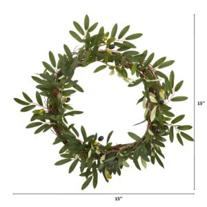 Nearly Natural 16 in. Olive Artificial Wreath